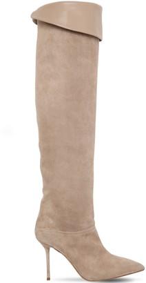 Aquazzura 95mm Lancaster Suede & Leather Boots