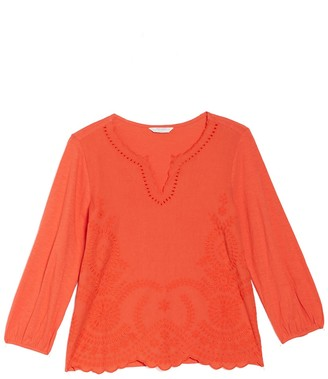 Lucky Brand Embroidered Scallop Hem Blouse