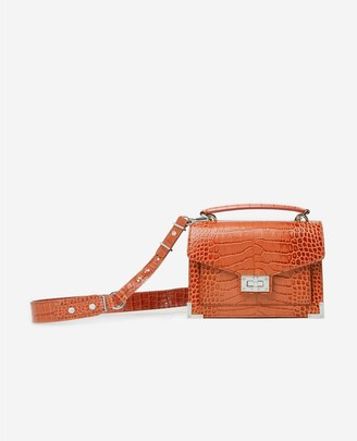 The Kooples Emily mini red croc-print bag in leather