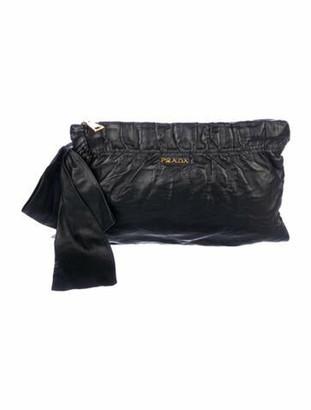 Prada Nappa Antik Zip Clutch Black