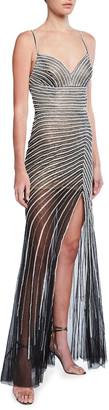 Jovani Beaded Stripe Sheer Skirt Illusion Gown