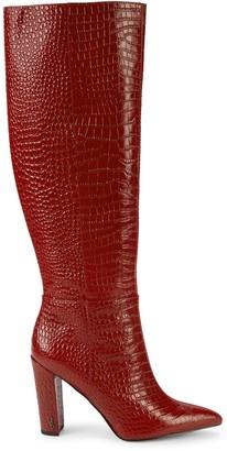 Sam Edelman Raakel Croc-Embossed Leather Knee-High Boots