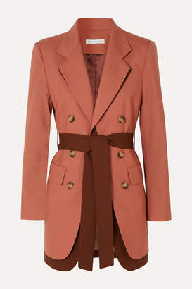 REJINA PYO Elliot Belted Double-breasted Layered Wool Blazer - Coral