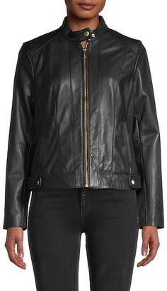 Cole Haan Leather Moto Racer Jacket