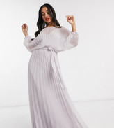 Asos DESIGN Petite blouson pleated Maxi dress with self belt