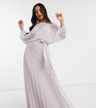 Asos DESIGN Petite blouson pleated Maxi dress with self belt-Multi