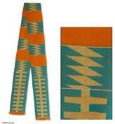 Cotton kente cloth scarf, 'Sky Ladder'