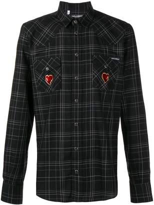 Dolce & Gabbana Sacred Heart patch plaid shirt