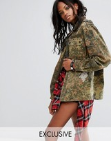 Reclaimed Vintage Revived Festival Camo Military Jacket With Diamante Fish Patches
