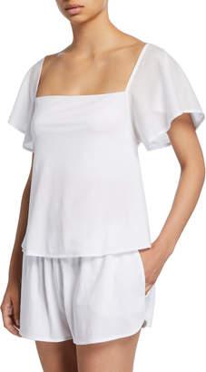 Josie Skin Short-Sleeve Lounge Top w/ Shelf Bra