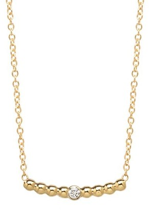 Zoë Chicco Gold Beads 14K Yellow Gold & Diamond Curved Bar Pendant Necklace