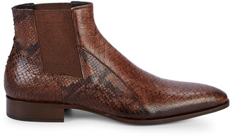Jo Ghost Snakeskin-Embossed Leather Chukka Boots