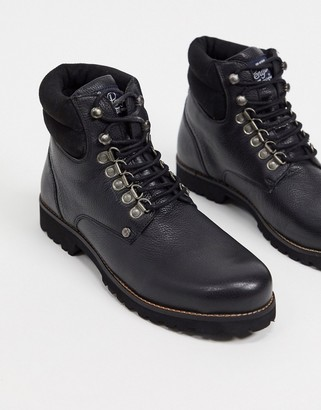Original Penguin padded collar lace up hiker boots in black leather