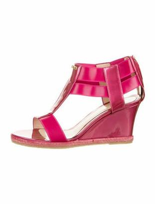 Fendi Patent Leather T-Strap Sandals Pink