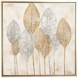 Uma Large Square Gold and Silver Painted Leaf Canvas Wall Art
