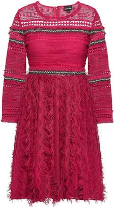 Just Cavalli Embellished Crochet And Embroidered Tulle Mini Dress