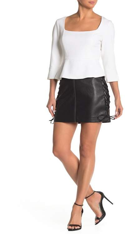 8e3ac9ea Lace-Up Faux Leather Zip Front Mini Skirt