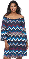 Wrapper Juniors' Plus Size Chevron Off-The-Shoulder Dress