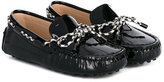 Tod's Kids tied bow mocassins