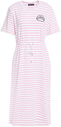 Markus Lupfer Ivy Embroidered Striped Stretch-cotton Midi Dress