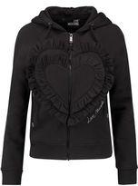 Love Moschino Ruffled Cotton-Blend Jersey Hooded Sweatshirt