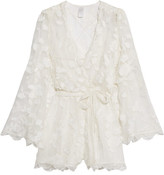 Zimmermann Good Times Wrap-effect Fil Coupé Silk Playsuit - Ivory