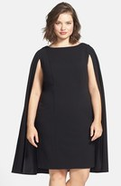 Adrianna Papell Plus Size Women's Cape Sheath Dress