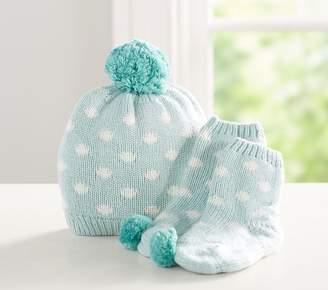Pottery Barn Kids Dot Knit Sherpa Hat & Bootie Set, 0-3 Months, Pink