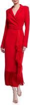 Badgley Mischka Fringe-Hem Asymmetric Wrap Scuba Coat Dress