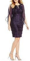 London Times Plus Capelet Sleeve Sheath Dress
