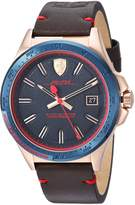 Ferrari Men's 'Pilota' Quartz Stainless Steel and Leather Casual Watch, Color:Brown (Model: 0830461)
