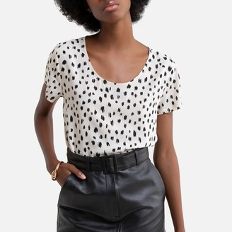 Only Round-Neck Blouse with Short Sleeves