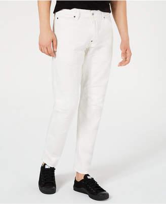 G Star Men Tapered White Moto Jeans