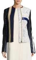 Acne Studios Patchwork Leather Moto Jacket, Blue Pattern