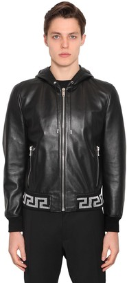 Versace Greca Hooded Leather Bomber Jacket