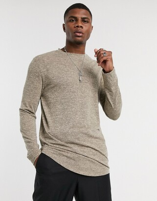 ASOS DESIGN longline long sleeve t-shirt with curved hem in inject marl fabric