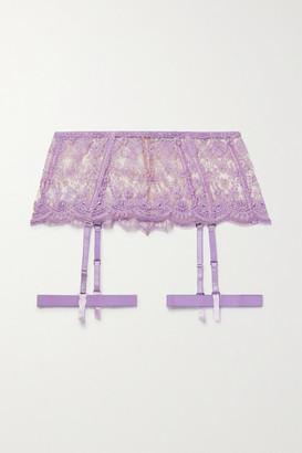 I.D. Sarrieri Satin-trimmed Embroidered Tulle Suspender Belt - Lilac