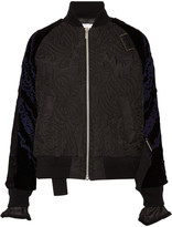 Sacai Quilted shell and appliquéd velvet bomber jacket