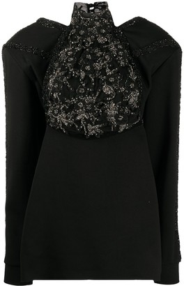 Loulou Sheer Back Embellished Panel Top