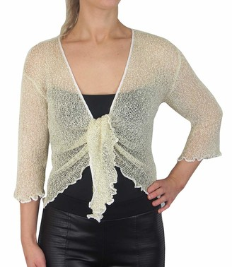 Mimosa Ladies Crochet Glitter or Plain Stretch Lace Fish Net Tie at Waist Bolero Shrug Open Cardigan (Taupe 6-16)