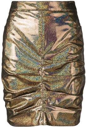 MSGM holographic ruched skirt