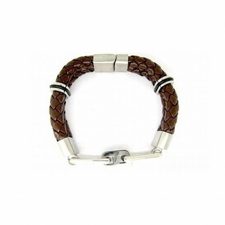 CORED c26 Bracelet Leather Braided with Stainless Steel Magnetic Clasp Dark Brown 21 cm
