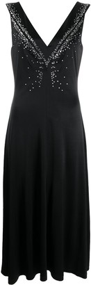 Paco Rabanne V Neck Embellished Midi Dress