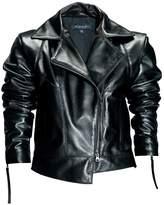 Leka Black Leather Biker Jacket