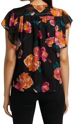 Joie Magin Floral Ruffle-Sleeve Silk Top