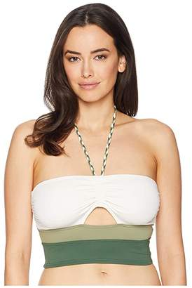 Vince Camuto Sun Block Bandeau Crop Top w/ Braided Ties and Removable Soft Cups