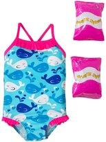 Jump N Splash Toddler Girls' Whale Tale One Piece Swimsuit w/ Free Floaties (2T3T) - 8143035