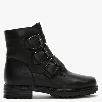 Df By Daniel Veronic Black Leather Buckle Biker Boots