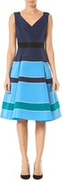 Carolina Herrera Striped Silk V-Neck A-Line Dress
