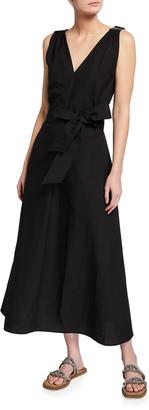 Brunello Cucinelli Crinkle Cotton Double-V-Neck Dress